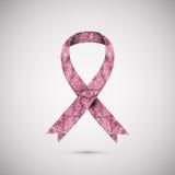 Aufwändiges Band des Brustkrebses auf abstraktem rosa Hintergrund Stockbild