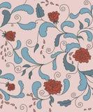 Aufwändiges Muster der Rosen mit blauen Blättern Stockbild