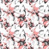 Aufwändiges Schattenbild von grauen und rosa Blumen des Schmutzes mit Blättern auf weißem Hintergrund stock abbildung