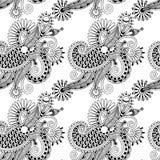 Aufwändiges Schwarzweiss-nahtloses Digital-Zeichnung Stockbilder