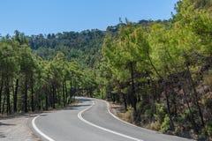 Aufwärts eine curvy, bendy Straße Offene Straße durch Wald auf Abhang Öffnen Sie Straße Leere Straße ohne Verkehr in der Landscha stockfoto