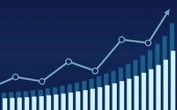 Aufwärtstrendlinie Pfeile mit Balkendiagramm in der Börse auf blauem Farbhintergrund Stockfotografie