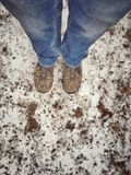 Aufwartung in den Schnee Stockfotografie