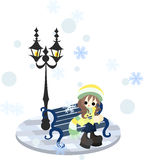 Aufwartung am schneebedeckten Tag Lizenzfreie Stockbilder
