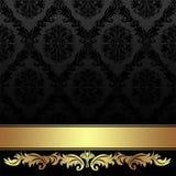 Aufwändiger Holzkohlendamast Hintergrund mit goldenem Band Stockfotografie