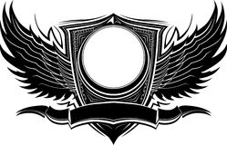 Aufwändiges Abzeichen mit Flügeln und Fahnen-Schablone Stockfoto