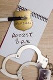 Aufzeichnung der Festnahme Stockbilder