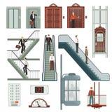 Aufzug und Treppe eingestellt stock abbildung