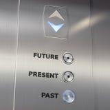 Aufzugszeitmaschine, die zur Vergangenheit geht Lizenzfreies Stockfoto