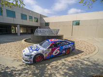 Aug 27 Advocare Throwback Ford Fusion. Concord, NC - Aug 27, 2015: The throwback Ford Fusion of Trevor Bayne at the Roush Fenway Racing World Headquarters in royalty free stock image