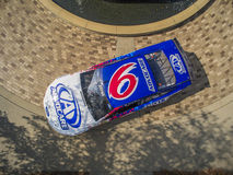 Aug 27 Advocare Throwback Ford Fusion. Concord, NC - Aug 27, 2015: The throwback Ford Fusion of Trevor Bayne at the Roush Fenway Racing World Headquarters in stock images