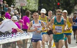 6 Aug `17 - London World Athletics Championships marathon:  Andrew Davies, Josh Griffiths & Brad Milosevic Stock Photos