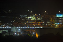 28 Aug 2016 Narita lotnisko przy nocą 2 terminal Narita Tokio Obraz Stock