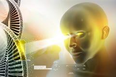 Auge, das voran gegen DNA-Strukturen schaut Stockfotografie