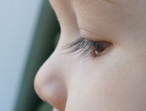 Auge des Kindes, das Fenster, Nahaufnahmemakrotrieb betrachtet Lizenzfreies Stockbild