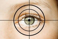 Auge im Fadenkreuz stockbilder