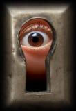 Auge im Schlüsselloch Stockbilder