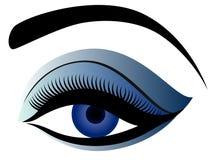 Auge mit dem flaumigen Augenlid in den blauen Farben stock abbildung