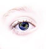 Auge mit der Welt reflektiert in ihr Stockfotos