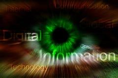Auge mit Text und Strahlen Stockfotos