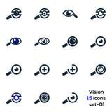 Auge, Vision, Geschäft, medizinischer Visionsikonensatz 01 lizenzfreie abbildung