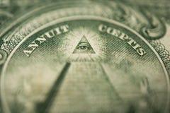 Auge von Providence-Sonderkommando in der Banknote von einem Dollar Stockbild