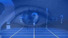 Augenöffnung mit Fragezeichen