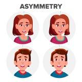 Augen-Asymmetrie des Charakter-Mann-und Mädchen-Vektors vektor abbildung