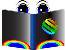 Augen, die ein Buch mit einer Regenbogenabdeckung lesen Lizenzfreie Stockbilder