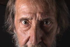 Augen eines alten bärtigen Mannes, die Kamera betrachtend Lizenzfreies Stockfoto