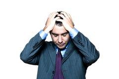 Augen eines nachdenkliche besorgte Geschäftsmannes geschlossen worden Lizenzfreie Stockbilder