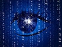 Augen-Matrix zeigt Programmierungscomputer und Optik an lizenzfreie abbildung