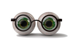 Augen mit Gläsern Stockbild