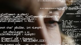 Augen und Programmcodes stock footage
