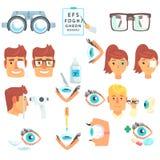 Augenarztdiagnostiksatz, -behandlung und -korrektur der Vision stock abbildung