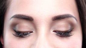 Augenblinzeln Brown-Frauen Abschluss oben stock video footage