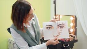Augenbrauen, die Tutorkurs an der Antlitz-Schule modellieren stock footage