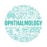 Augenheilkunde, Augengesundheitswesen-Kreisträger mit Linie Ikonen Visionskorrektur-Broschürenzeichen für Augenarztklinik Vektor Abbildung