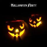 Augenkürbisauslegung Halloween-Party der Kunst glühende Stockbild