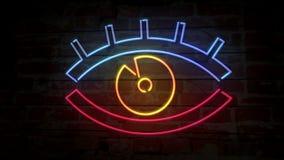 Augenneonikone auf Backsteinmauer