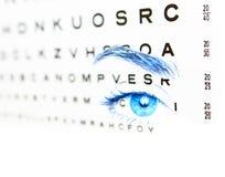 Augenprüfung für Anblick der blauen Augen 20-20 Stockfotografie