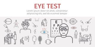 Augensehtestfahne Linie Ikonen eingestellt Infographics Vektorzeichen lizenzfreie abbildung