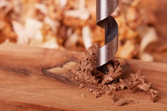 Auger Bit Drilling Wood Stock Images