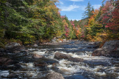 Auger Falls Rapids New York. Adirondack stream with rapids in Autumn with blue sky and colorful leaves Stock Photography