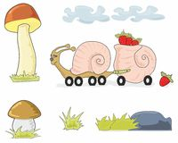 Auger truck and mushrooms Royalty Free Stock Images