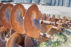 Augers for laying pipes in the ground Stock Photo