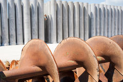 Augers for laying pipes in the ground Royalty Free Stock Image