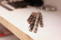 Augers for metal and stone. Drills for metal and stone stock photography