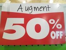 Augment pięćdziesiąt procentów z znaka Obraz Stock