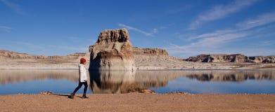 Augmentant sur le lac Powell, l'Utah, Etats-Unis photo stock